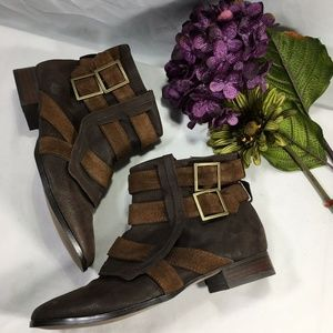 Zara Collection Basics Brown Leather Ankle Boots